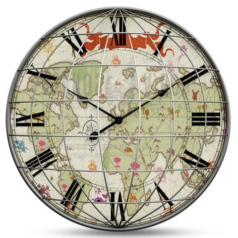 WORLD MAP WALL CLOCK GIANT GRID