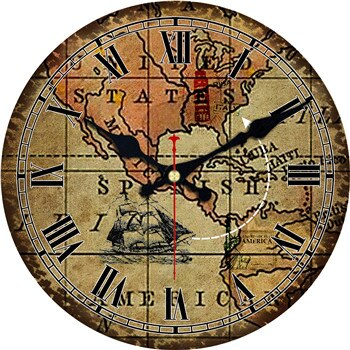 VINTAGE WALL CLOCK AMERICAN OLD MAP
