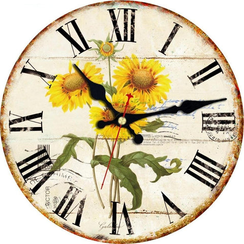 VINTAGE WALL CLOCK SUNFLOWER