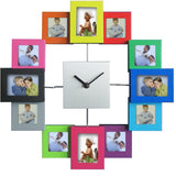 Photos Wall Clock <br> Multicolored Black and White Frames