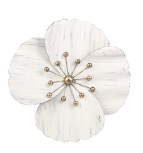 Load image into Gallery viewer, White Metal Wall Flower