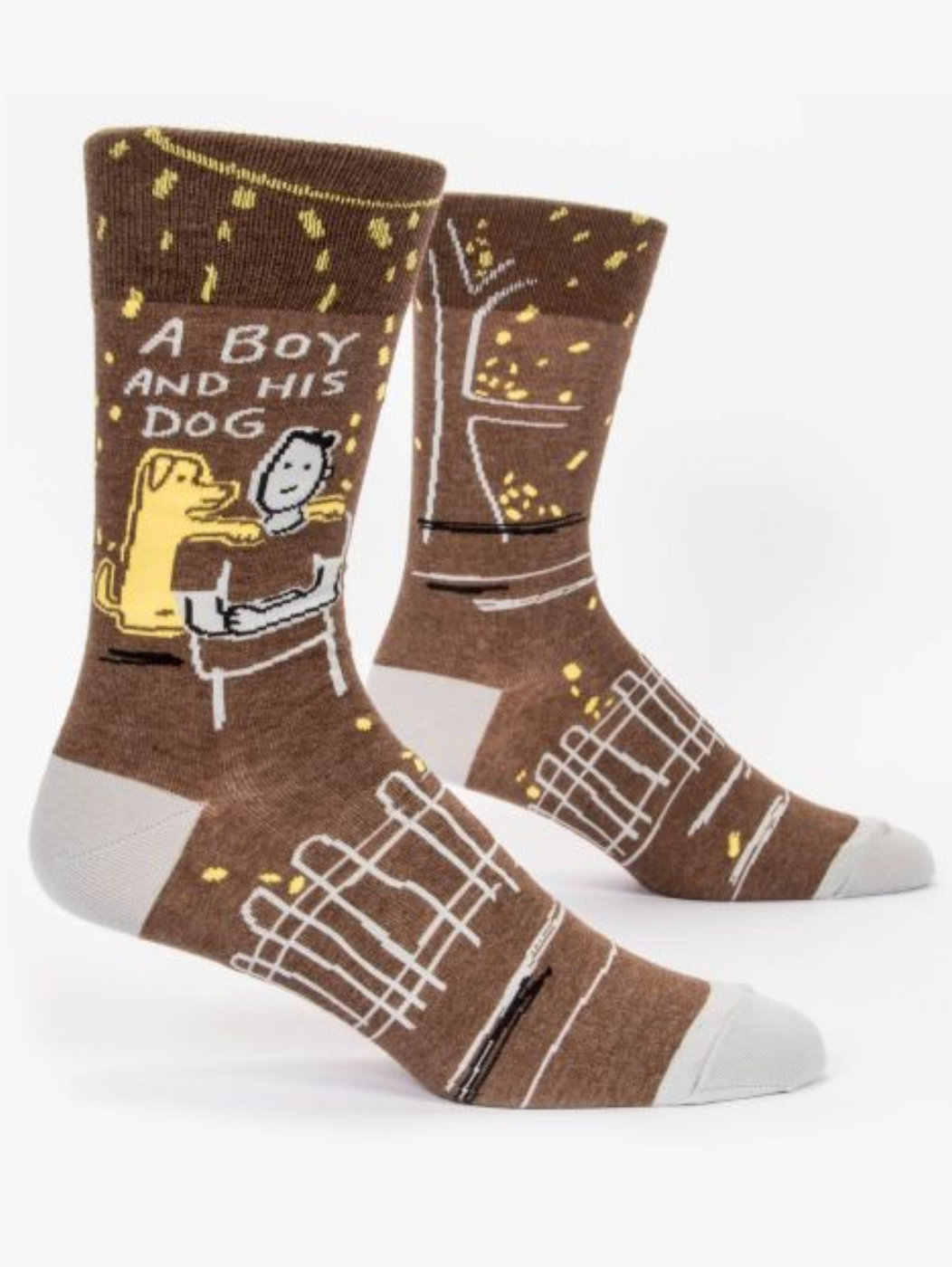 Blue Q A Boy and His Dog Men's Crew Socks