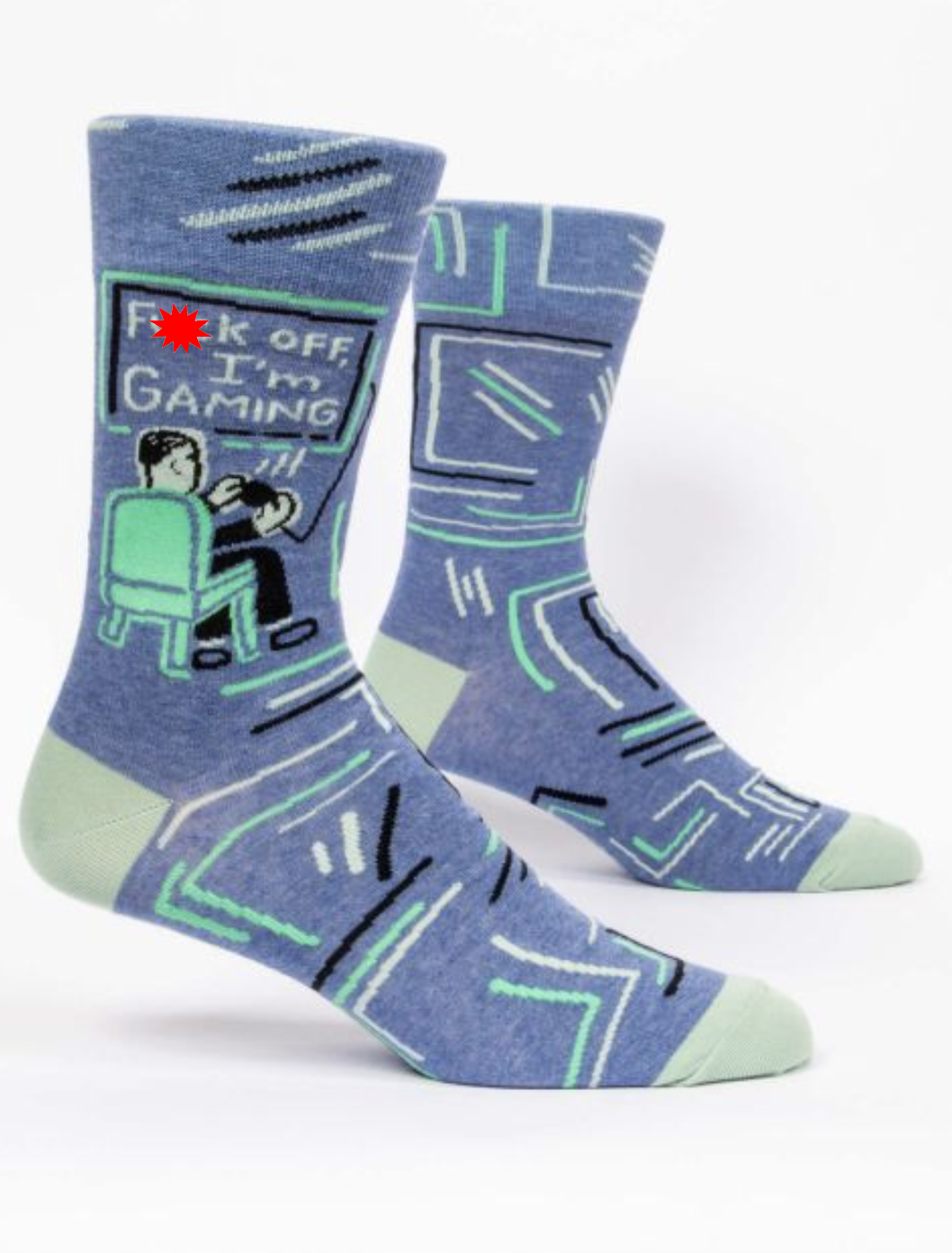 Blue Q F**k Off, I'm Gaming Men's Crew Socks