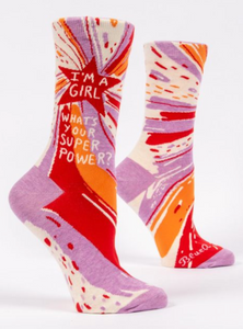 Blue Q I'm a Girl, What's Your Super Power? Women's Crew Socks