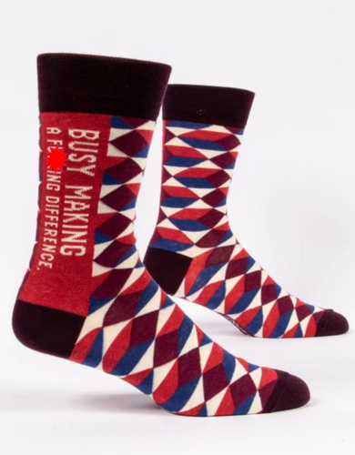Blue Q Busy Make a F**king Difference Men's Crew Socks