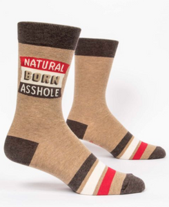 Blue Q Natural Born A**hole Men's Crew Socks