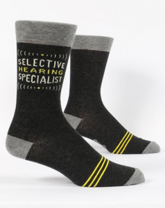 Blue Q Selective Hearing Specialist Men's Crew Socks