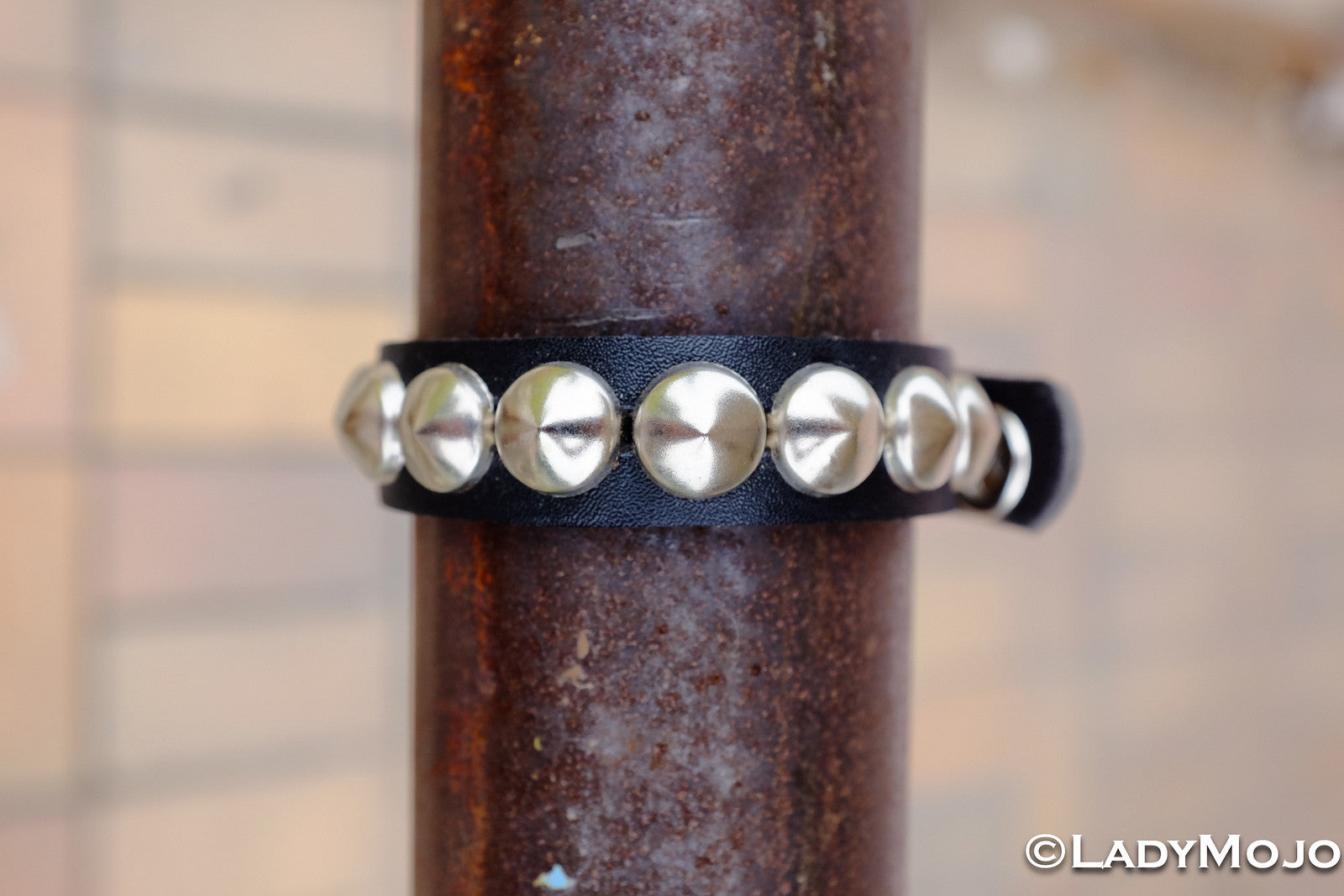 Leather Wristband with Large Studs (Black) (Last piece)
