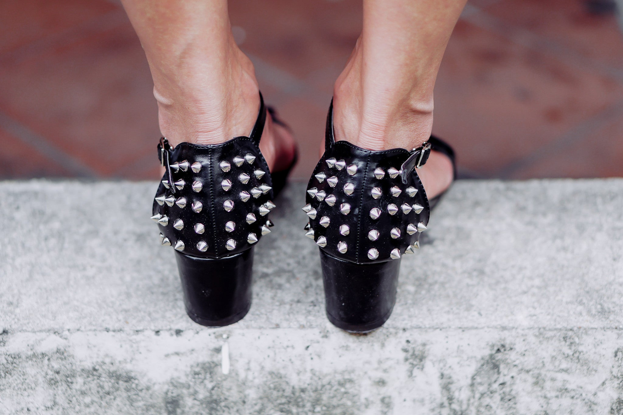 T-Strap Studded Heels in Black