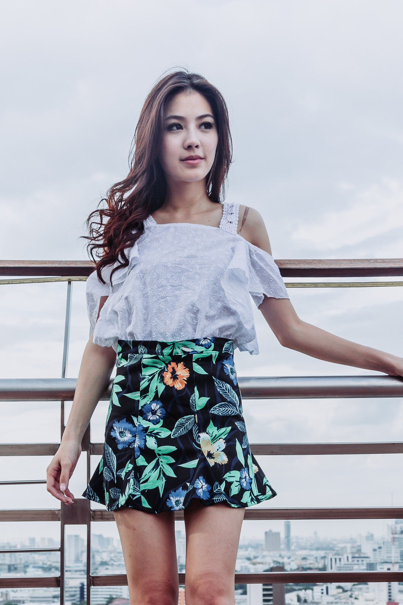 Tropical Trumpet Skirt in Black
