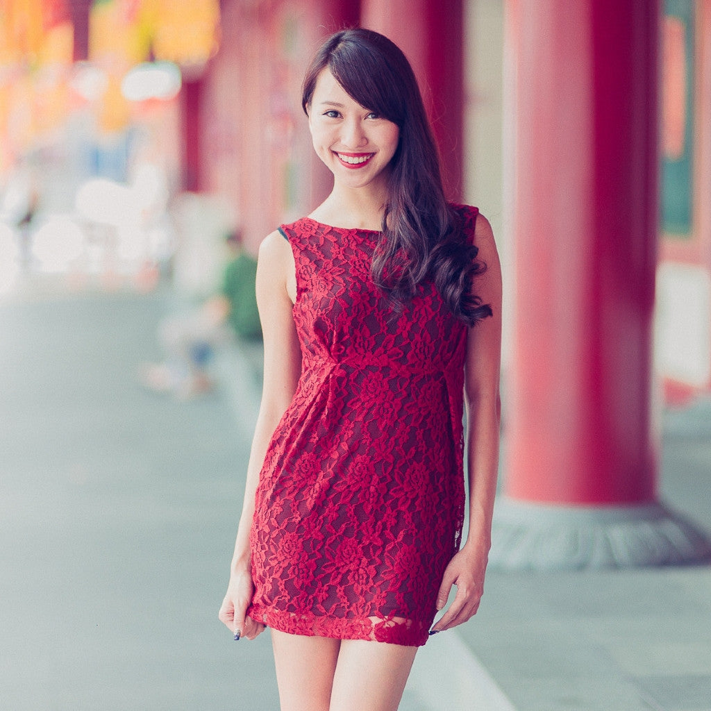 Bettany Lace Dress in Red (Last piece)