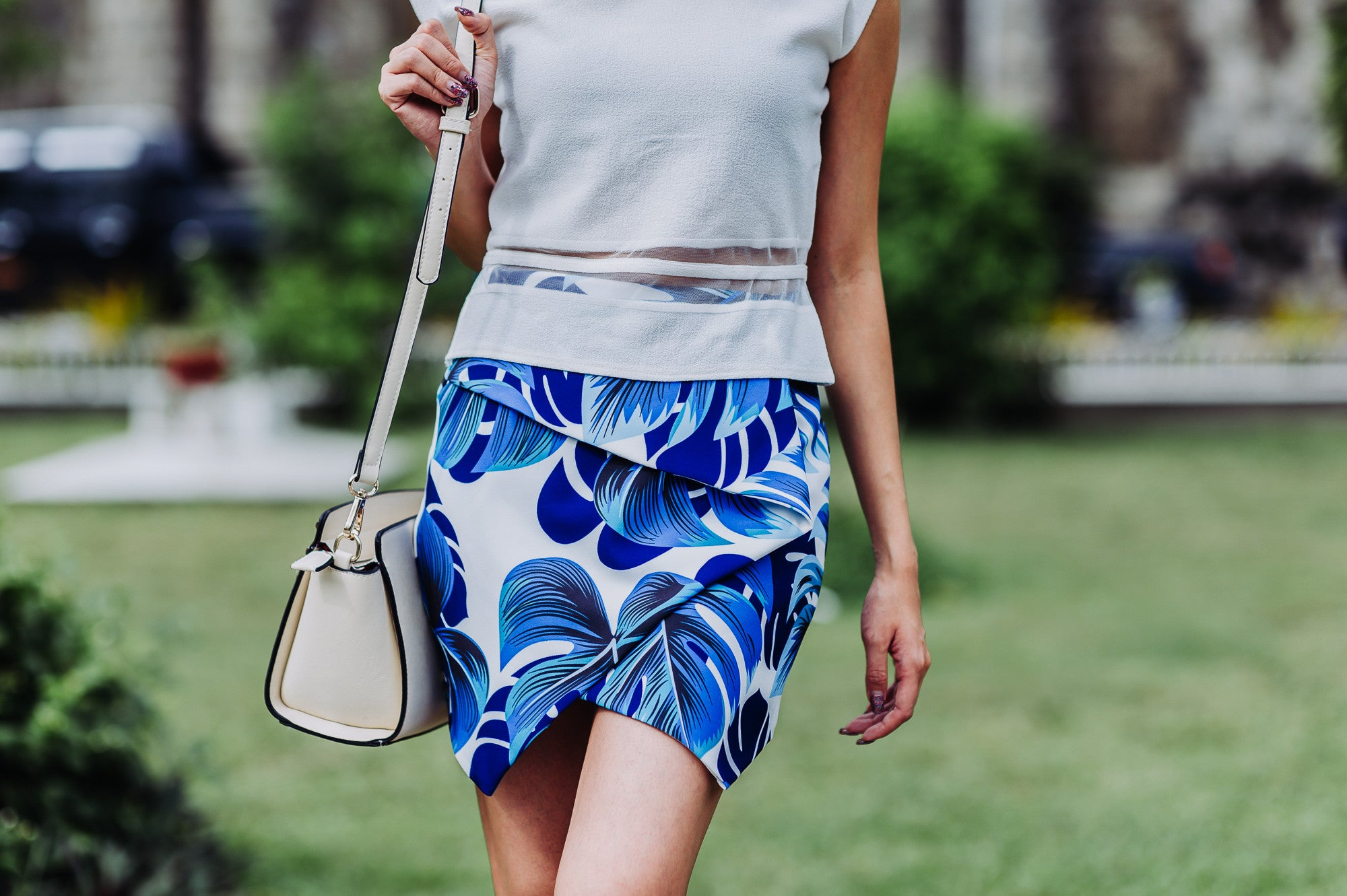 Summer Floral Skirt in Blue