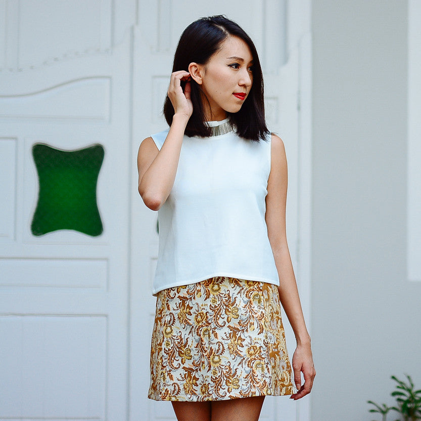 Marcy Baroque Skirt in Gold (Self Manufactured)