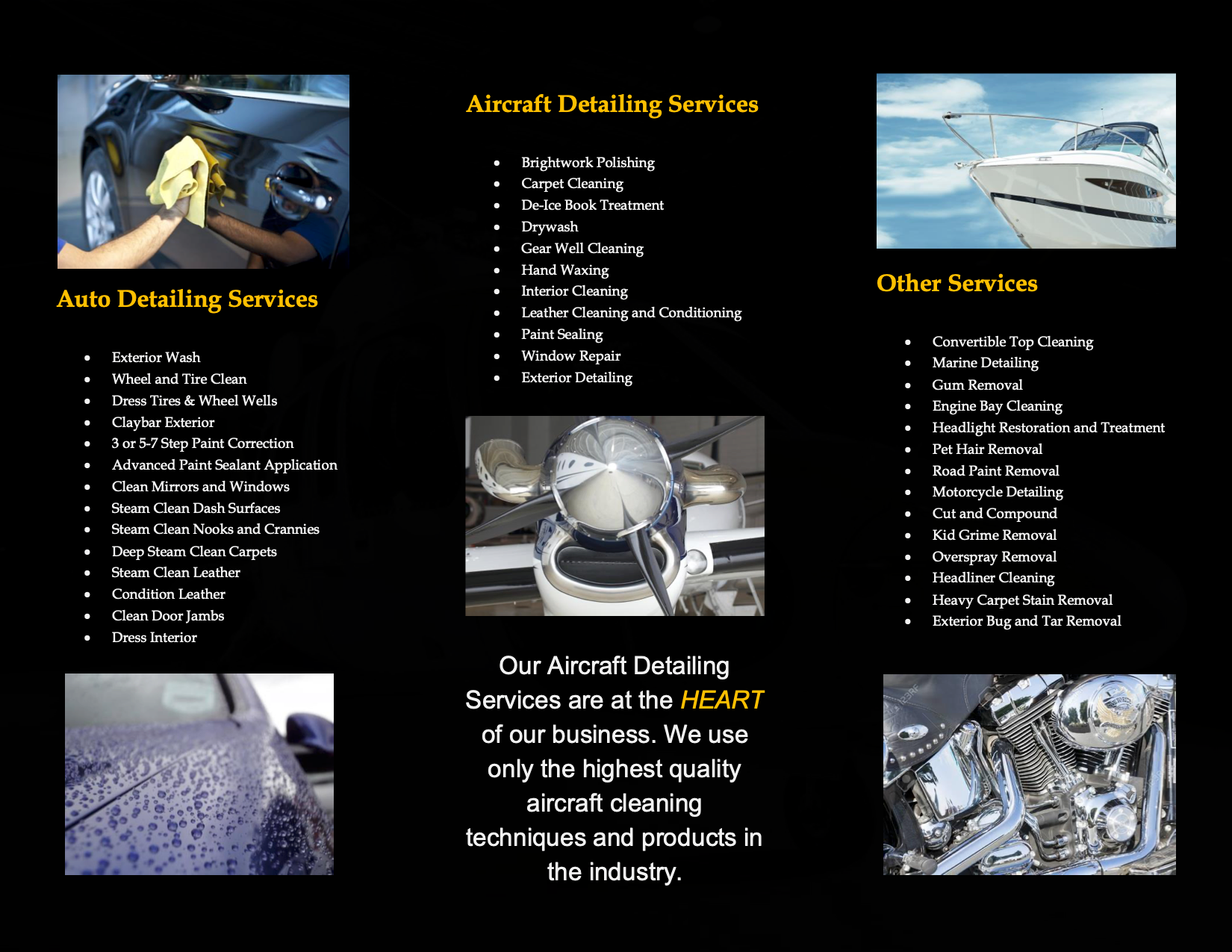 Inside of black tri-fold brochure about Meticulous Detailing services.