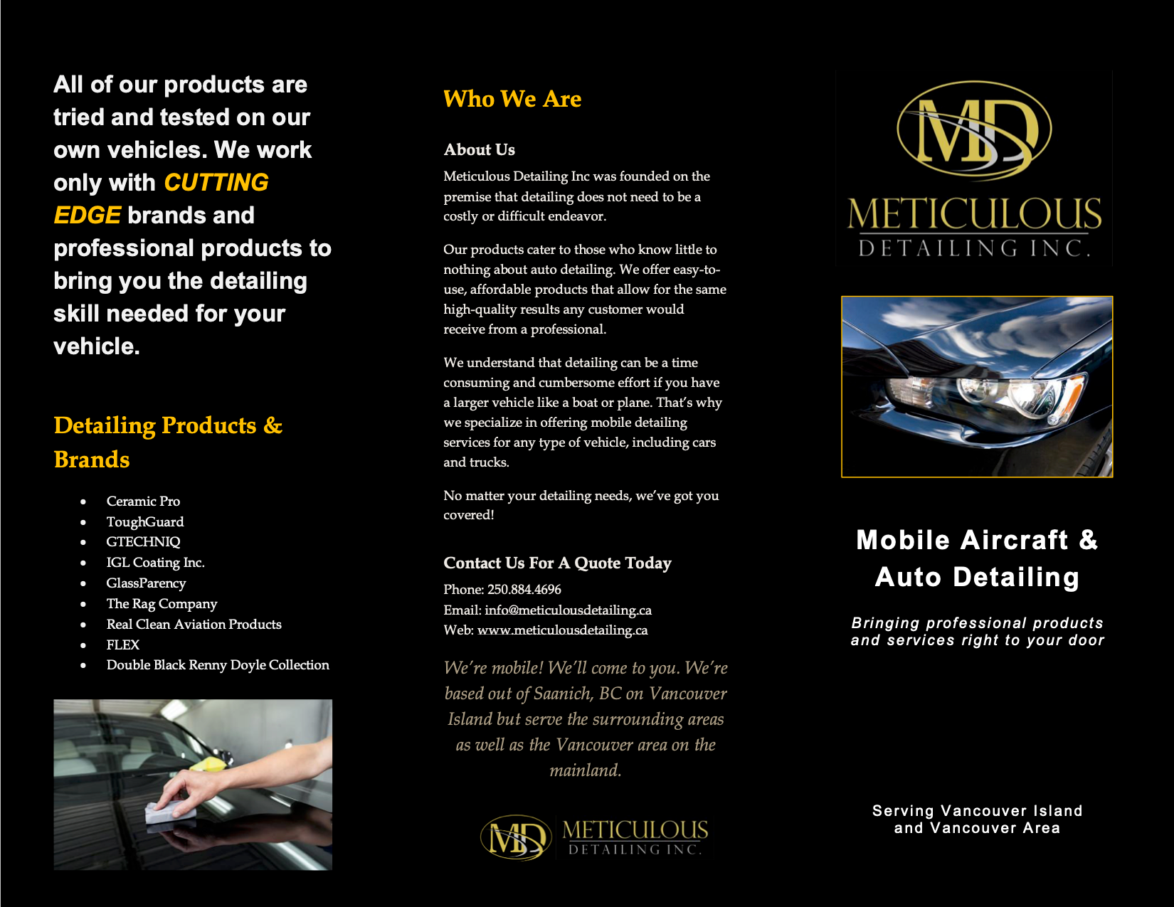 Outside of tri-fold brochure with information about Meticulous Detailing.