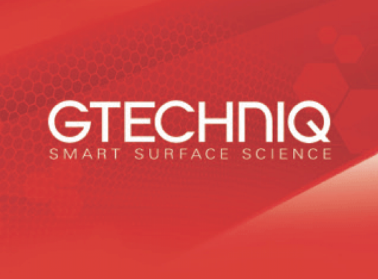 Logo for Gtechniq which is written in white letters across a red background and has the subtitle Smart Surface Science.