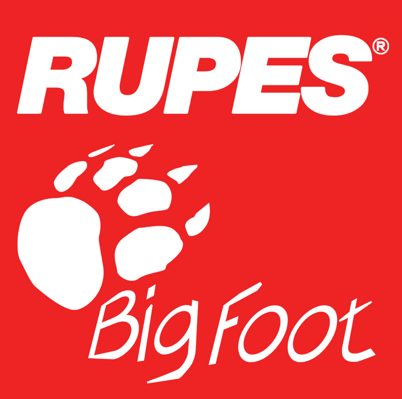 Red and white Rupes Big Foot logo with a paw print.
