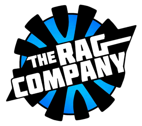 Logo for The Rag Company, written in large white letters on top of a blue circle with thick black lines arranged in a radial fashion.