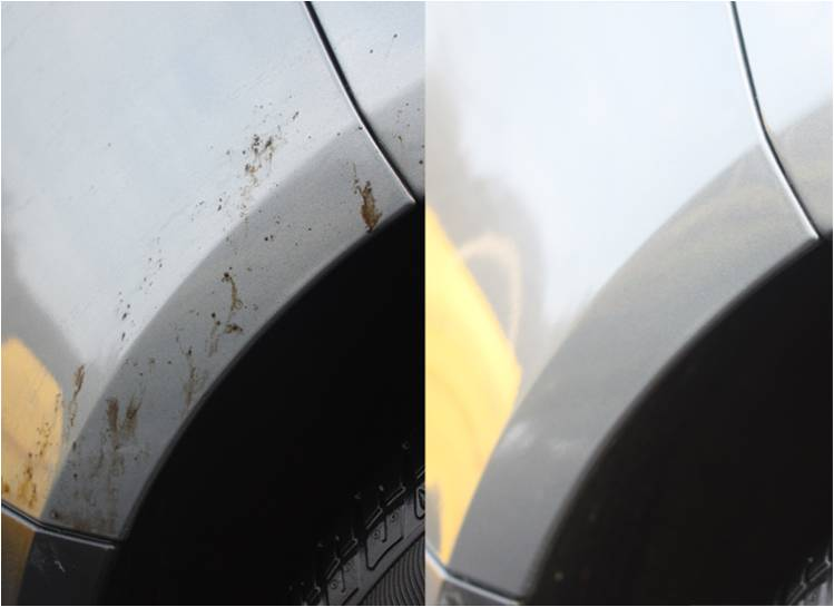 Before and after picture of a white car. Before picture shows tar on side of car. After picture shows shiny clean white surface of car.