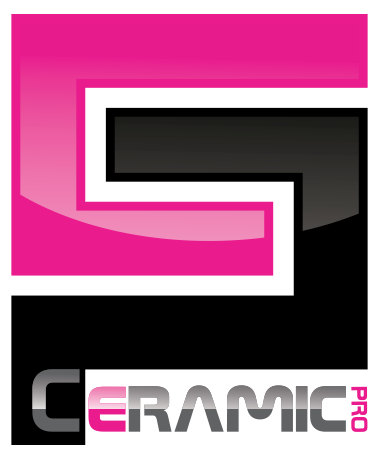 Logo for Ceramic Pro. Hot pink, black and silver logo.
