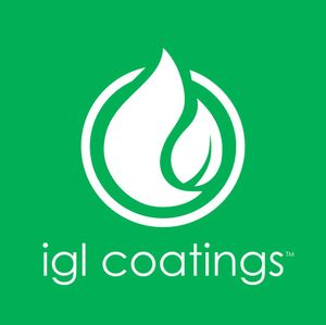 Logo for IGL has IGL Coatings in white letters beneath a white leaf-type graphic symbol on a green background.