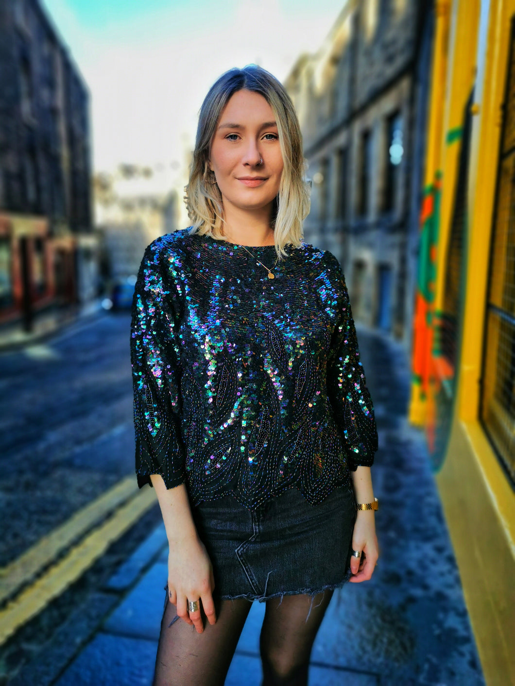 Black and Multicolour Sequin Silk Lined Top