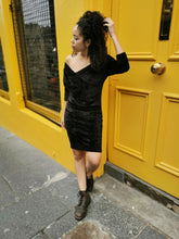 Load image into Gallery viewer, Black Velvet Vintage Dress