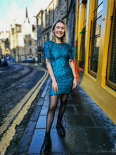 Load image into Gallery viewer, Turquoise Sequin Vintage Dress