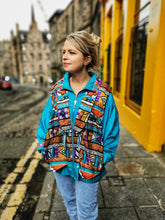 Load image into Gallery viewer, Turquoise Aztec Printed Vintage Jacket