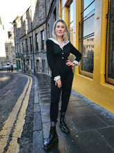 Load image into Gallery viewer, Black and White Ribbed Vintage Jumpsuit