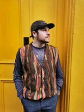 Load image into Gallery viewer, Brown and Orange Textured Vintage Sweater Vest