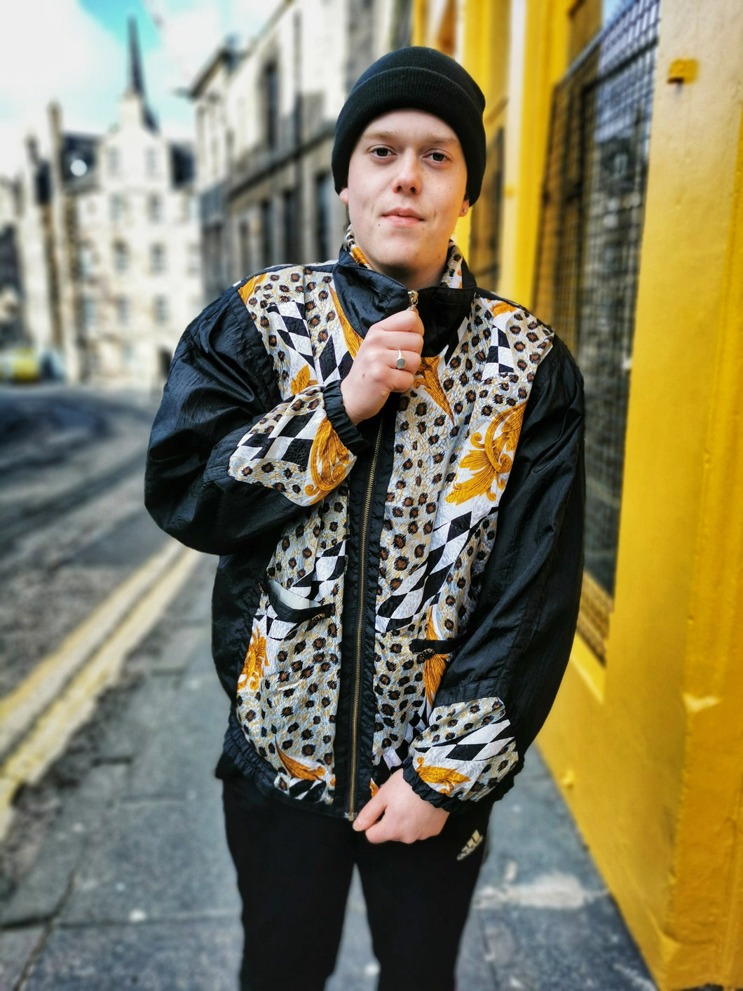 Black and Leopard Vintage Printed Anorak