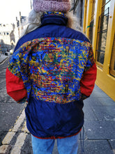 Load image into Gallery viewer, Navy and Red Patterned Windbreaker