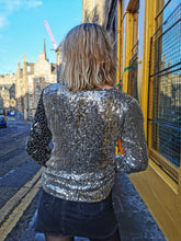 Load image into Gallery viewer, Silver and Black Vintage Sequin Top
