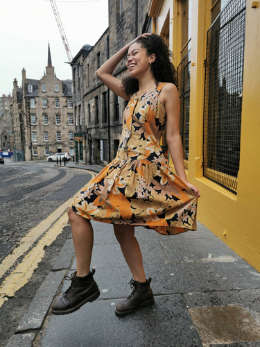 Yellow Floral Drop Waist Vintage Dress