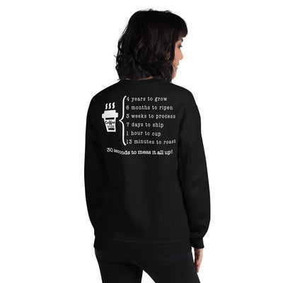 Unisex Coffee O'clock Back Print Sweatshirt
