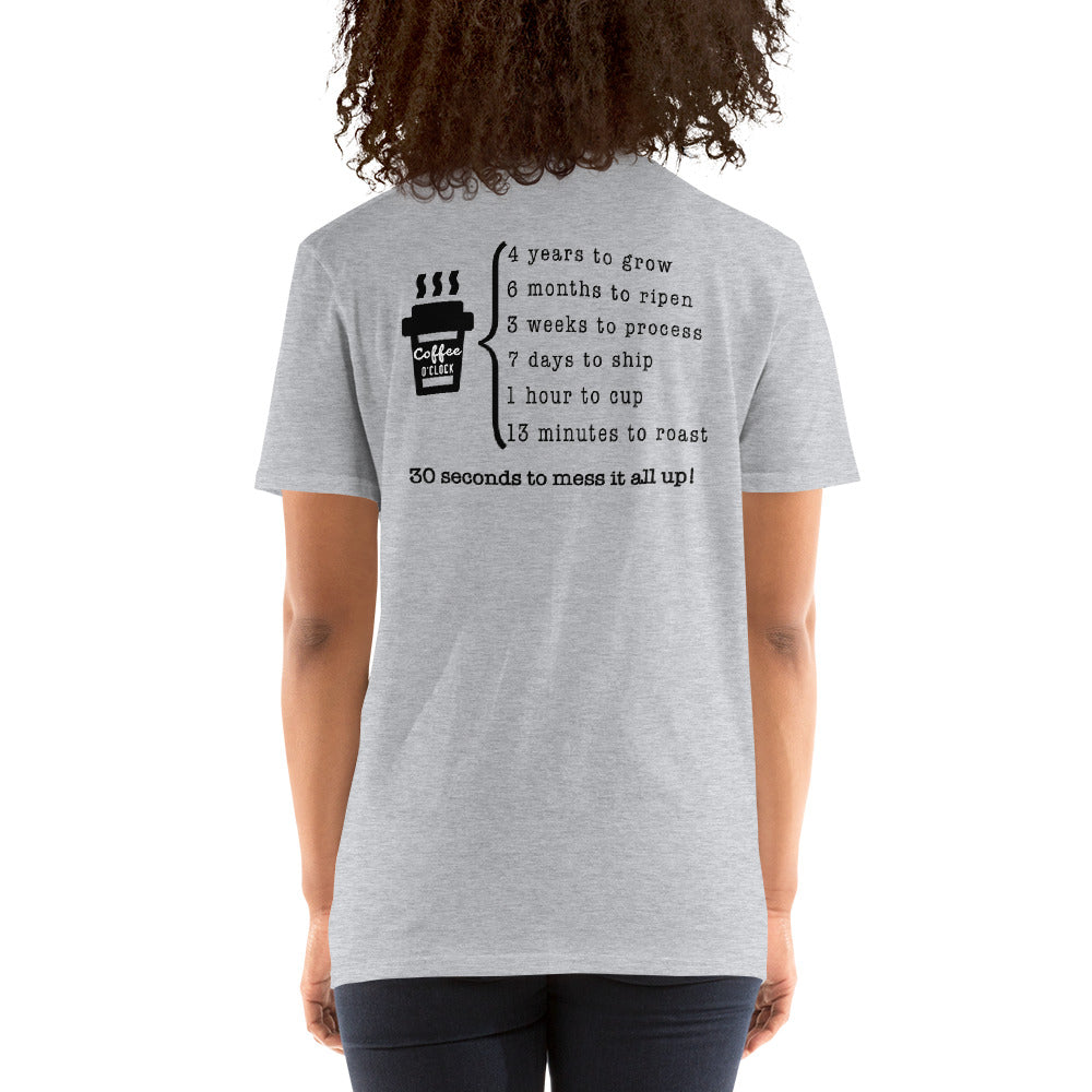 Unisex Coffee O'clock Back Print T-Shirt