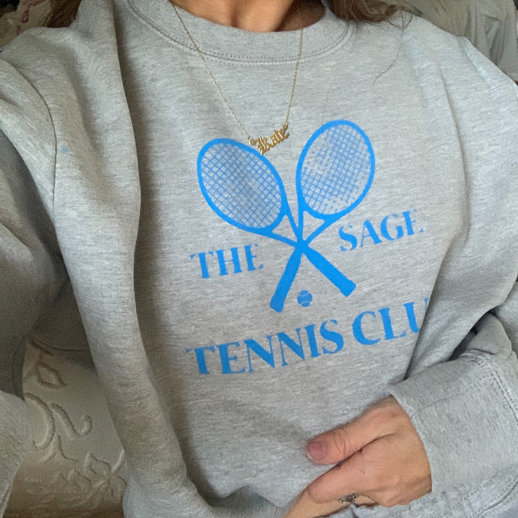 Grey/Blue The Sage Tennis Club Crewneck