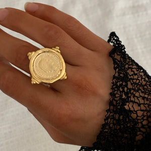 Susan Shaw Coin Intaglio Adjustable Ring