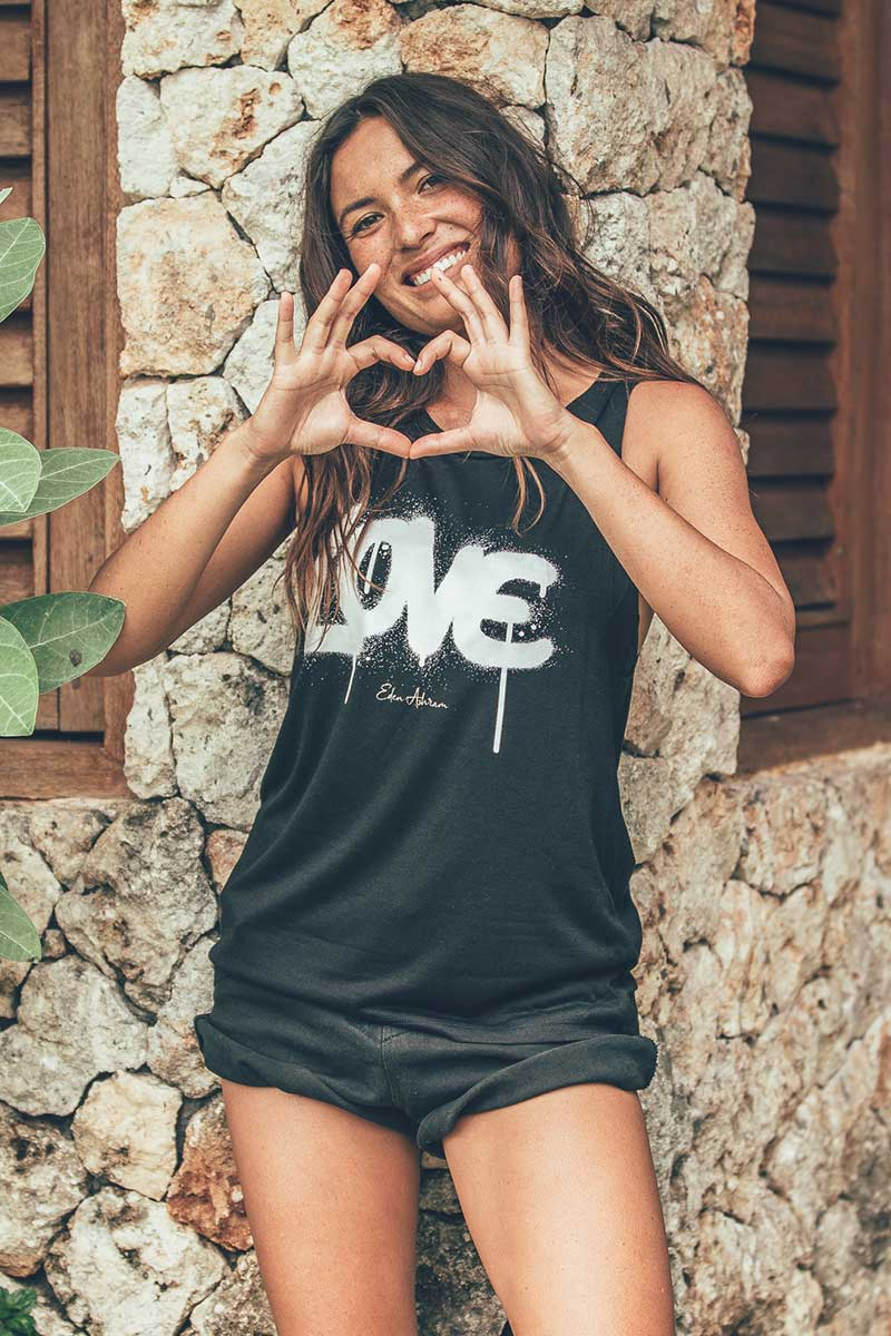 EDEN ASHRAM Graffiti Love Scoop Muscle Tank
