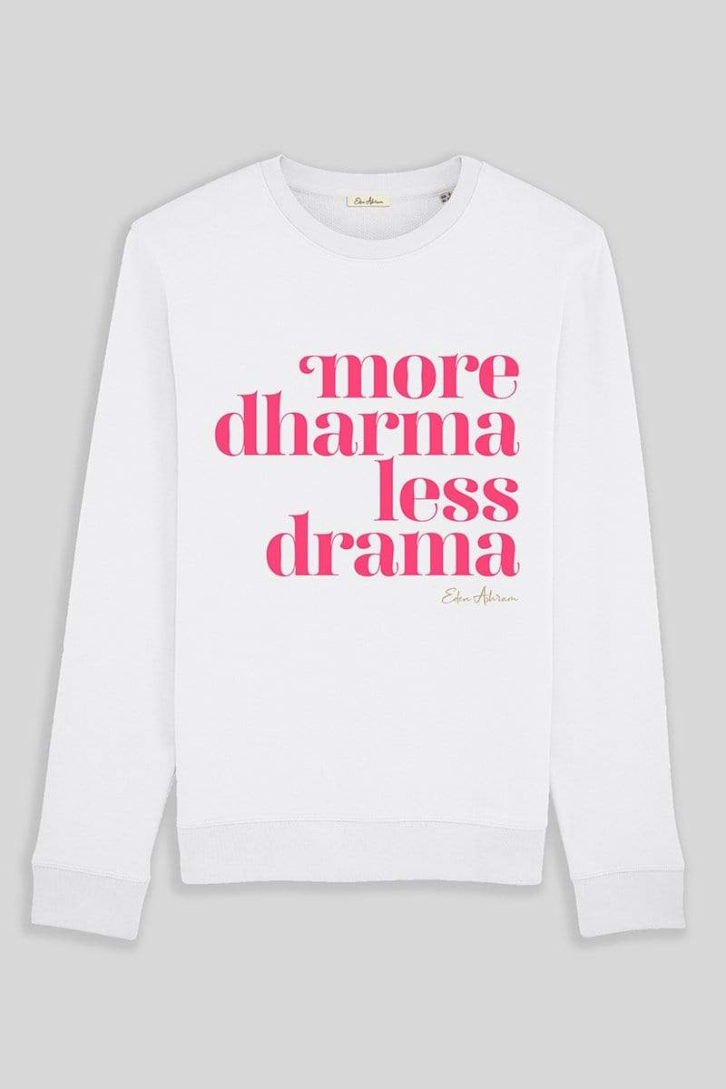 EDEN ASHRAM More Dharma Less Drama Terry Sweatshirt - Vintage White