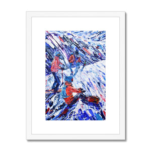 Snowboarder and Skier Framed & Mounted Print
