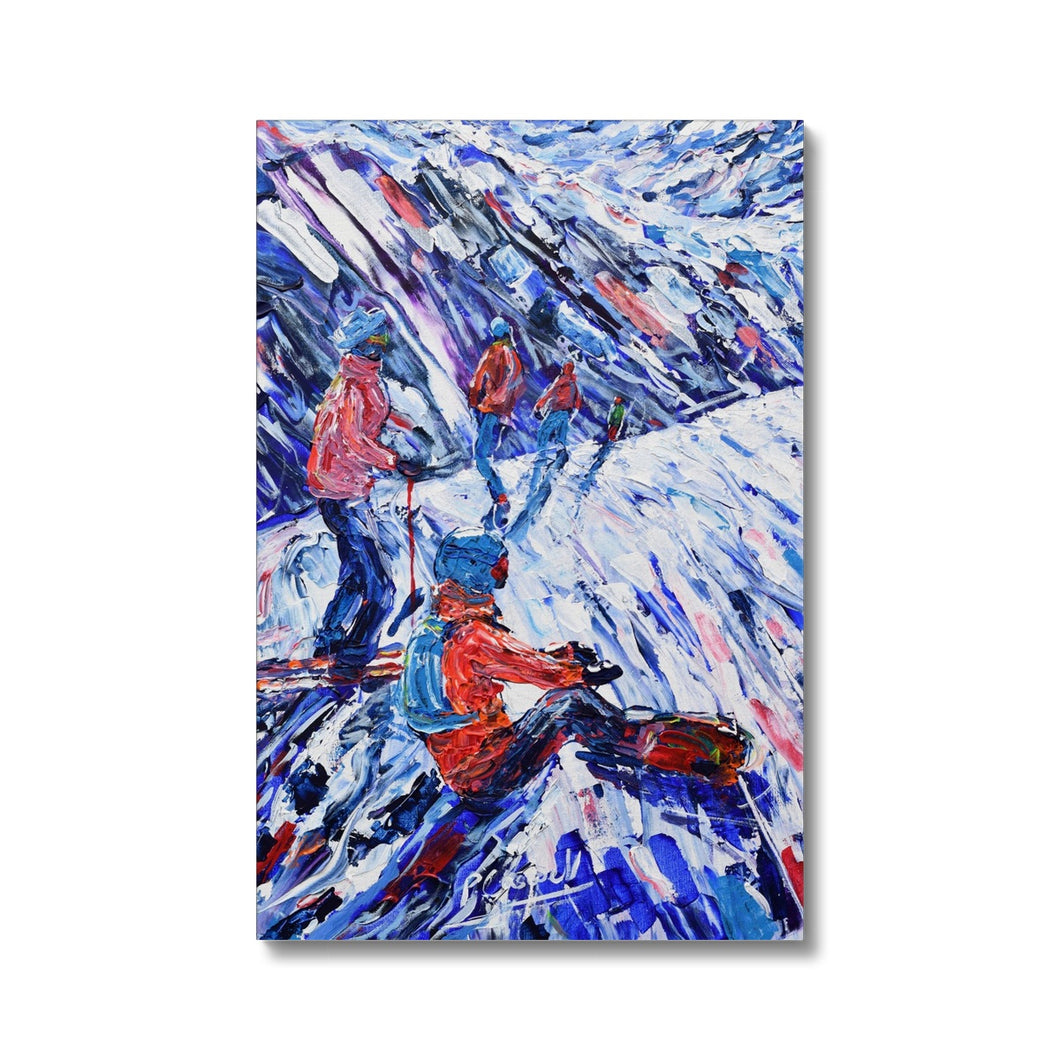 Snowboarder and Skier Canvas