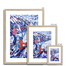 Load image into Gallery viewer, Snowboarder and Skier Framed & Mounted Print