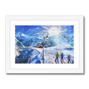 Val d'Isere Skiing Painting La Daille Framed & Mounted Print