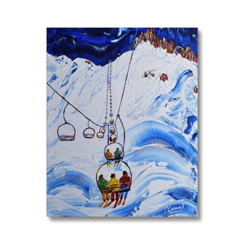 Tignes Chairlift Print - 3 Men in a Chair. Canvas