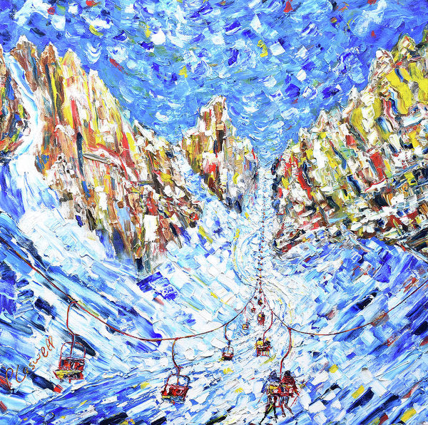 Chair To The Mountains Cortina Ski Poster