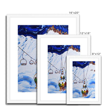 Load image into Gallery viewer, Tignes Chairlift Print - 3 Men in a Chair. Framed & Mounted Print