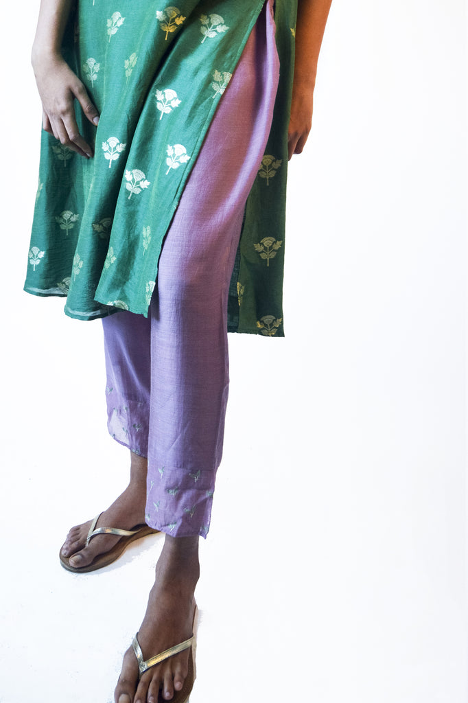 Modal Pants With Embroidered Hem