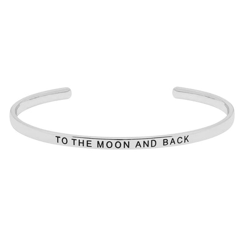 Silver Plated Moon And Back Open Bangle